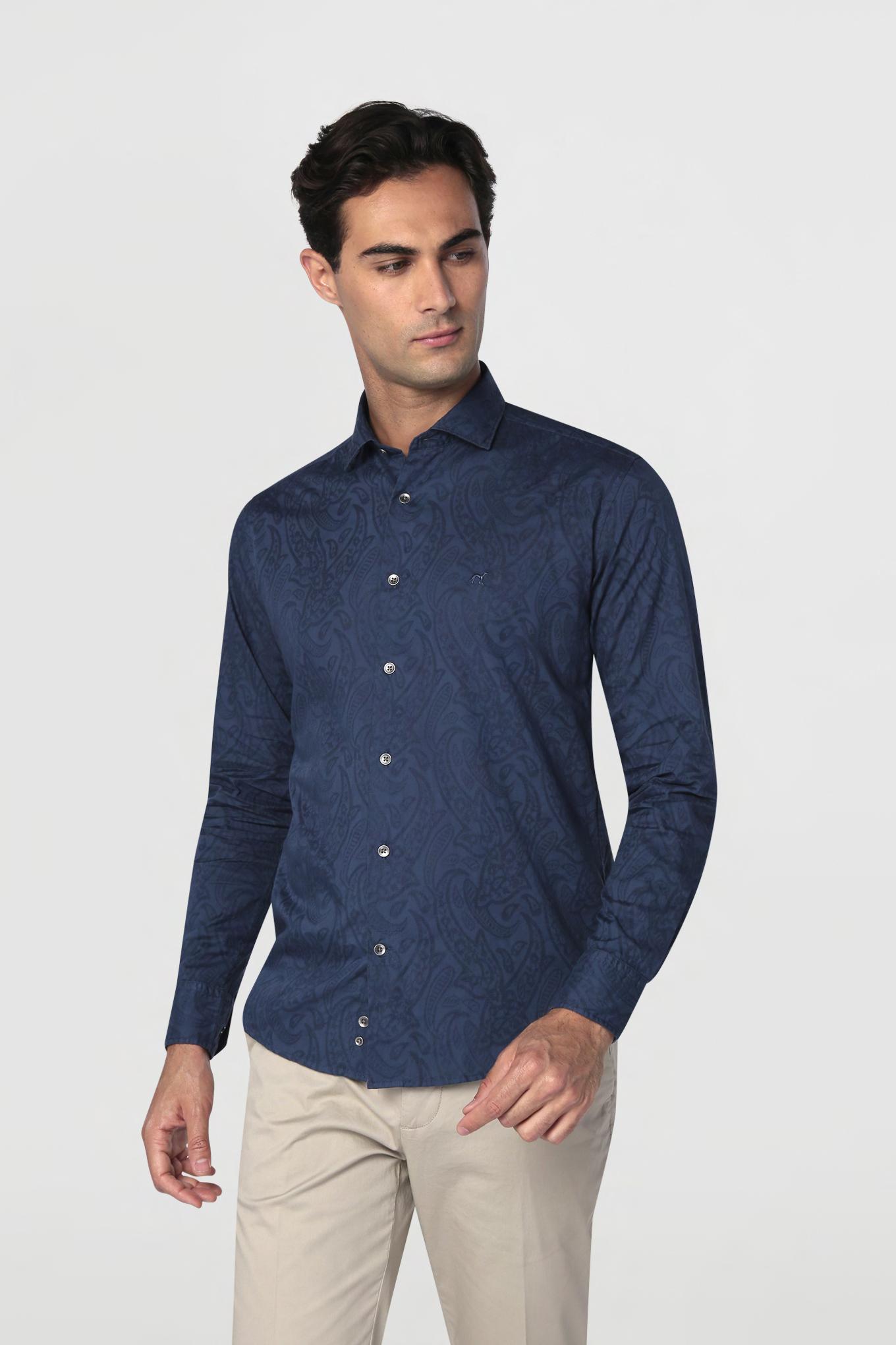 Shirt Dark Blue Casual Man
