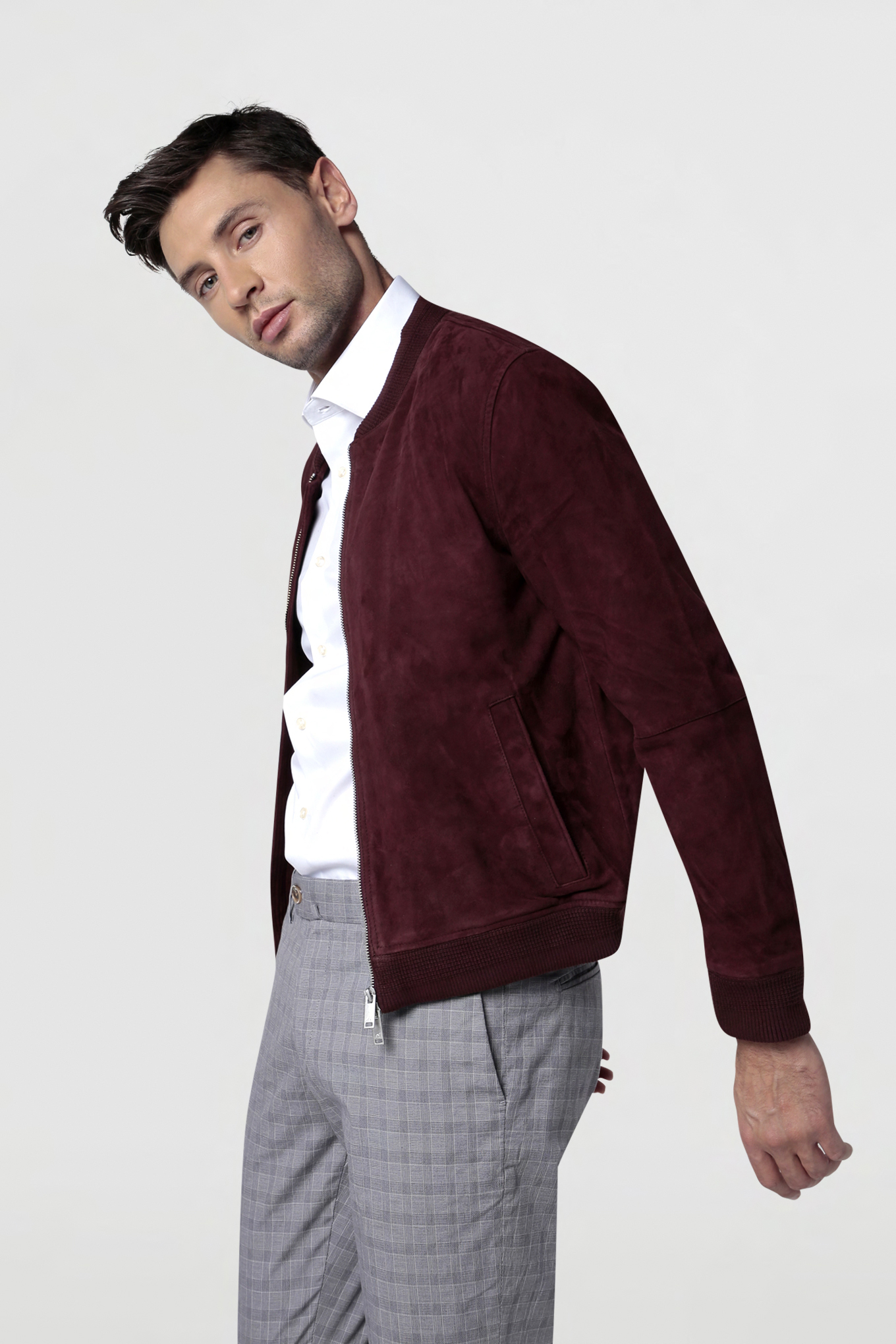 Leather Jacket Plum Casual Man