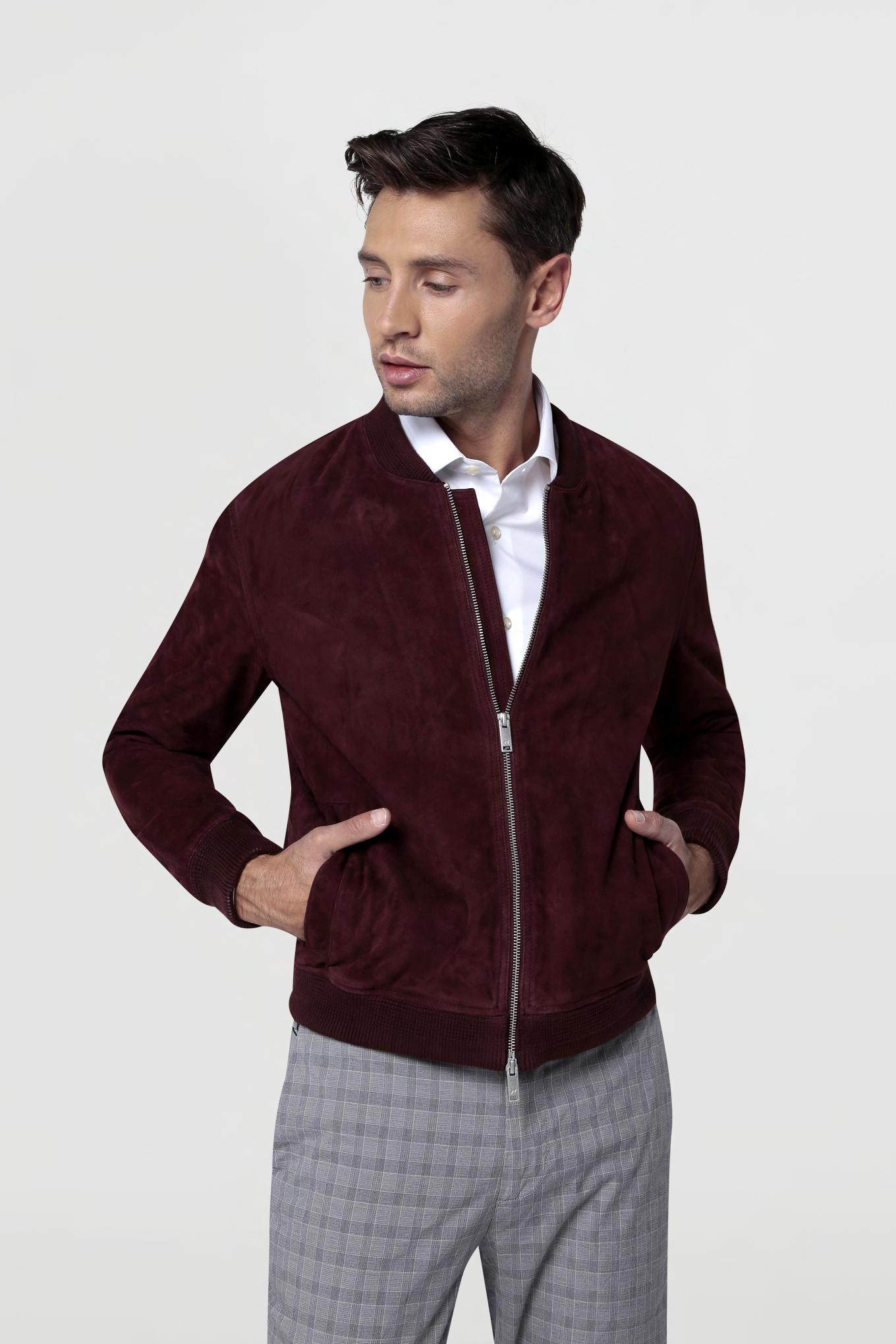 Leather Jacket Plum Casual Man