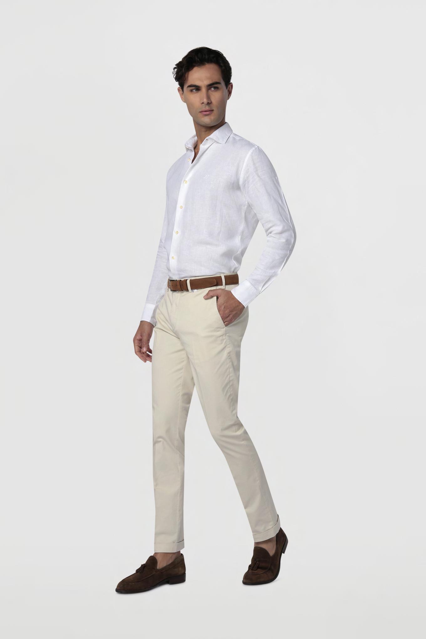 Chino Trousers Ecru Casual Man