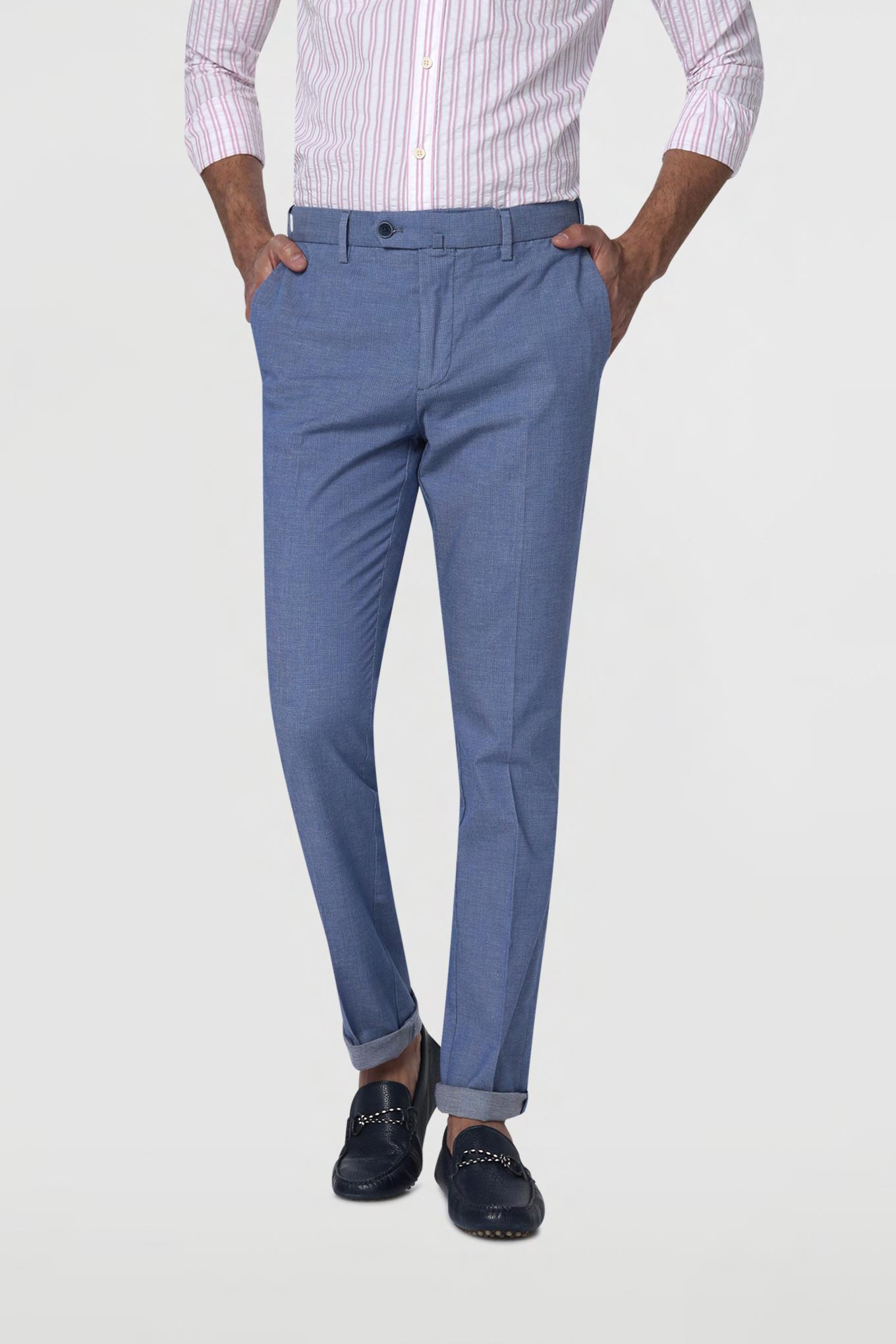 Calças Chino Azul Claro Casual Homem