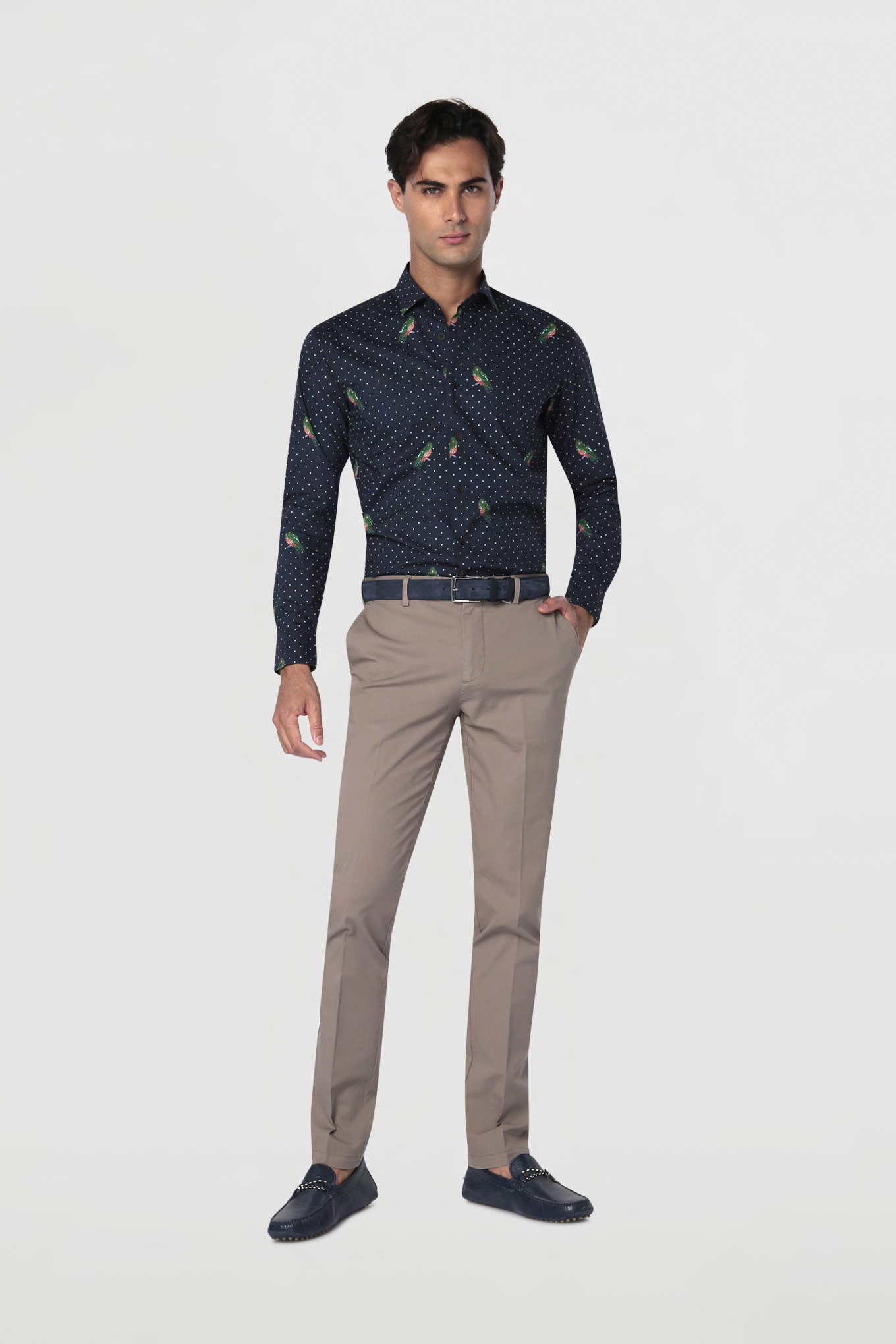 Chino Trousers Dark Beige Casual Man