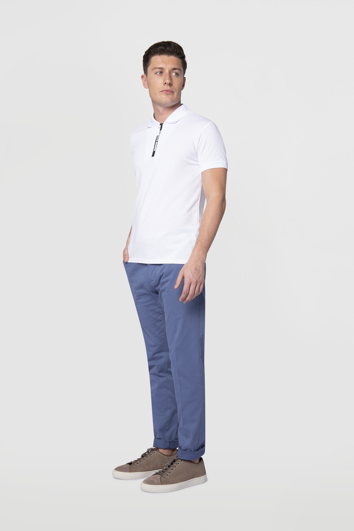 Chino Trousers Medium Blue Casual Man