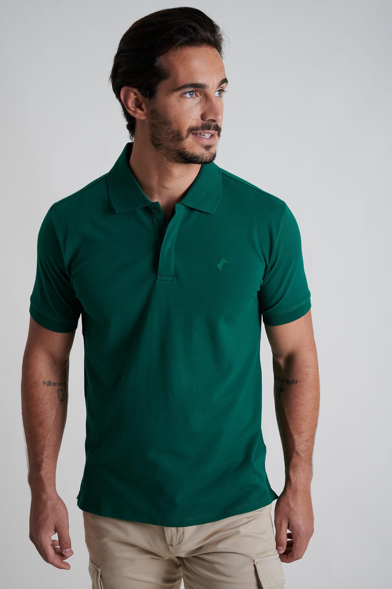 Polo Piquet Verde Escuro Sport Homem