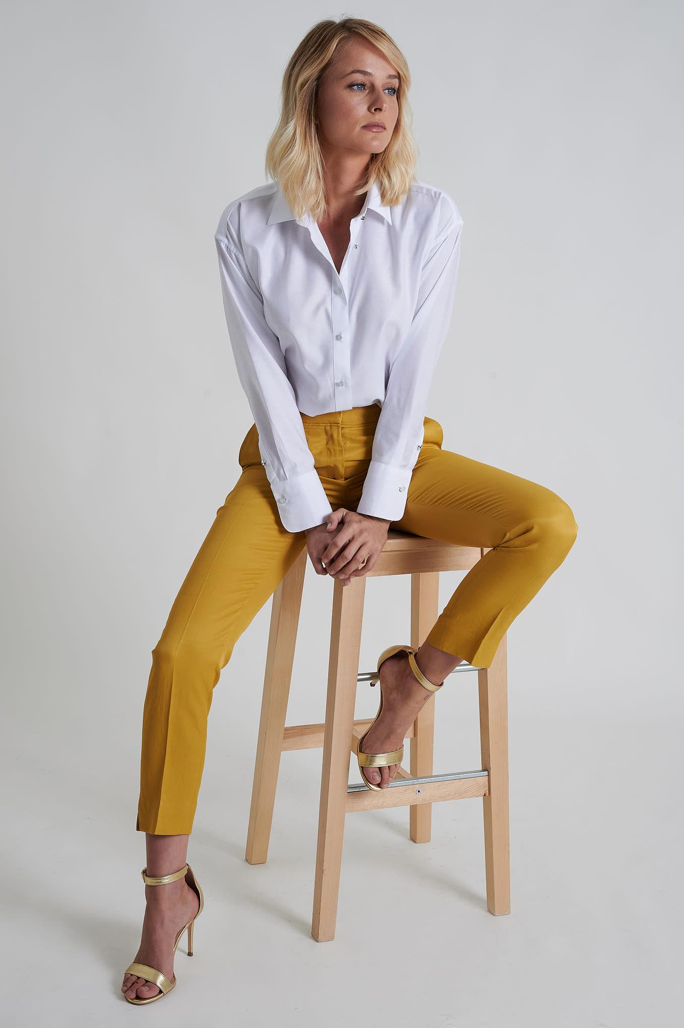 Calças Amarelo Formal Mulher