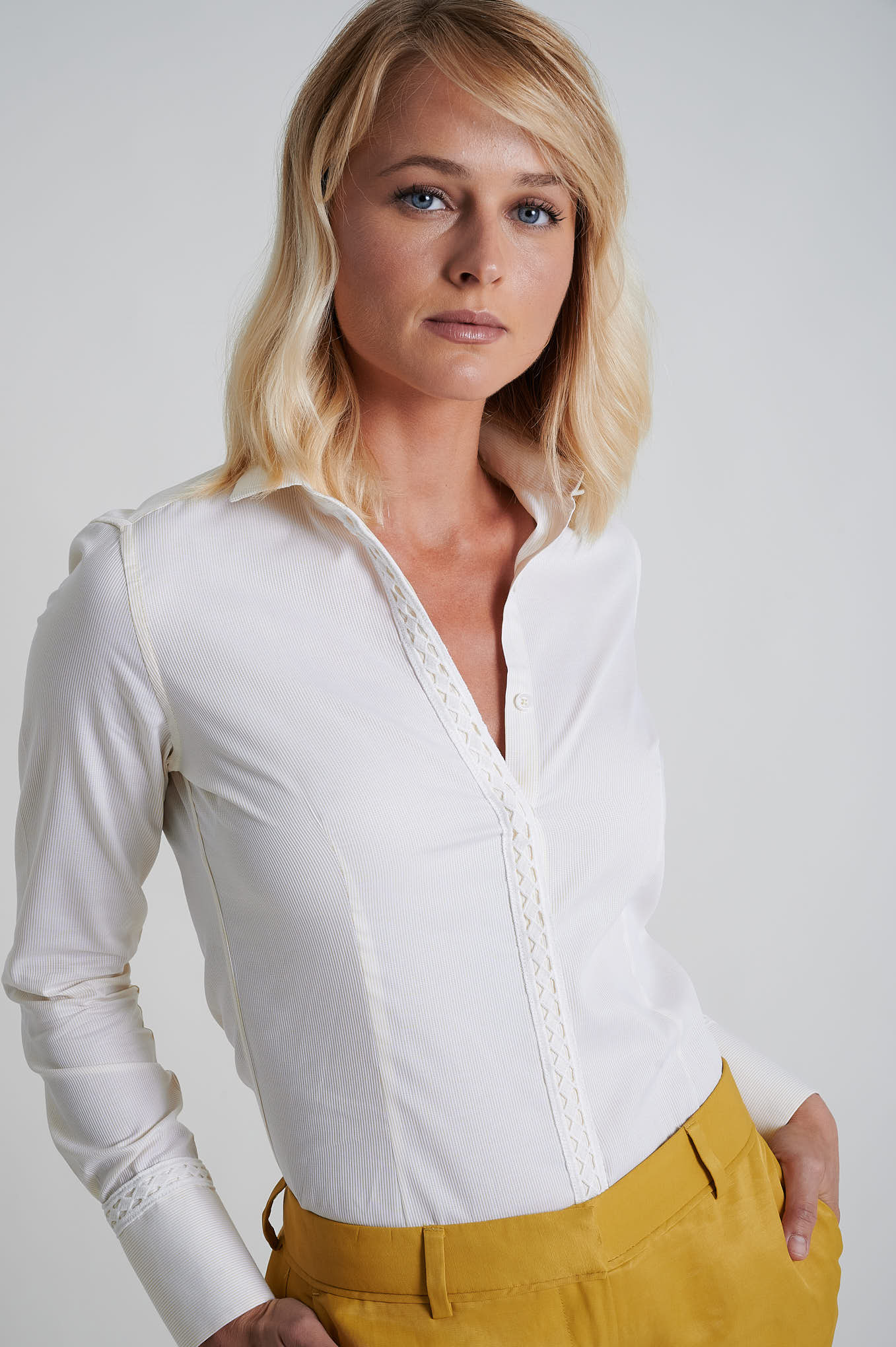 Shirt Yellow Formal Woman