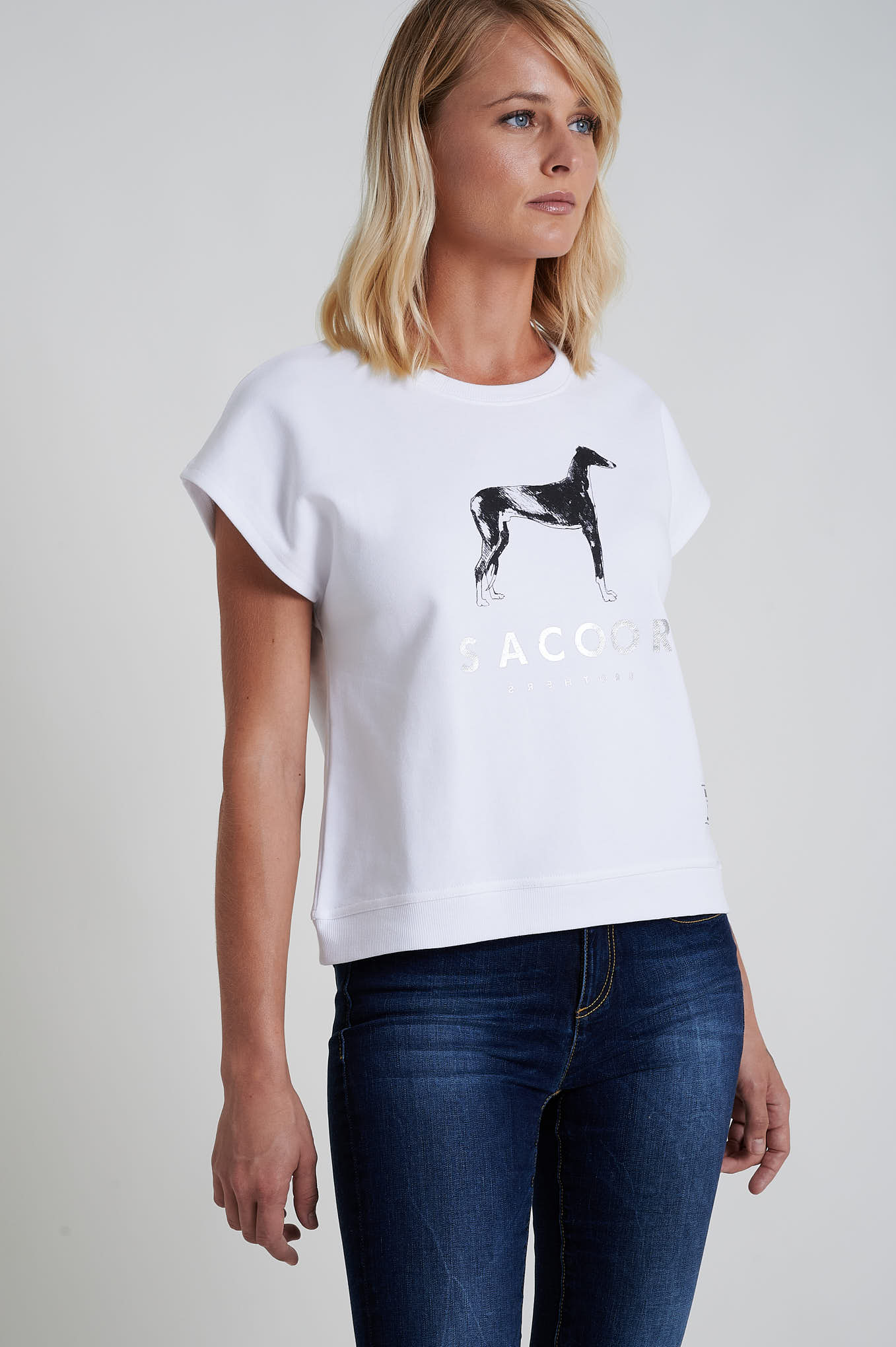 Sweatshirt White Sport Woman