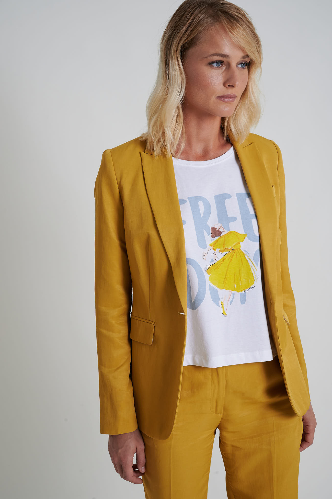 Blazer Yellow Formal Woman