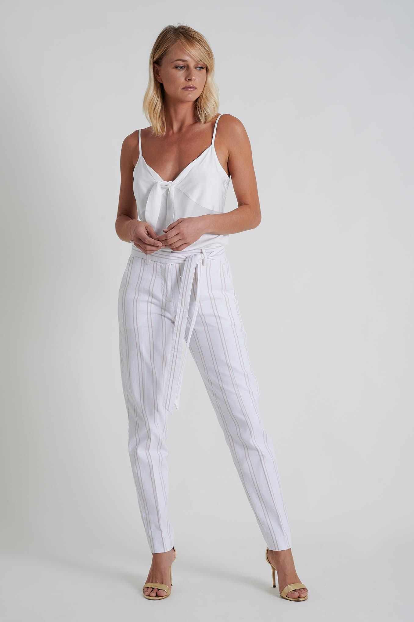 Chino Trousers Ecru Casual Woman