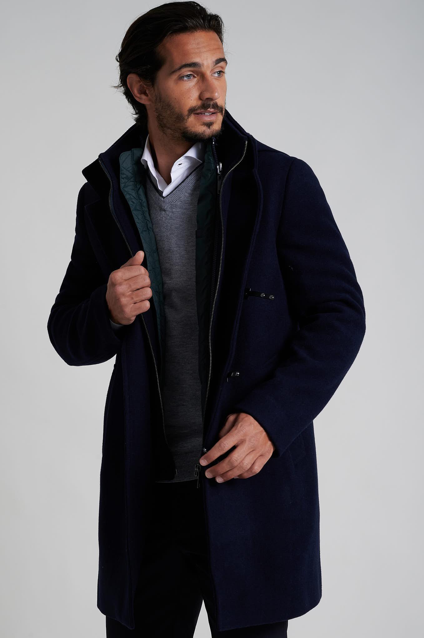 Coat Dark Blue Casual Man