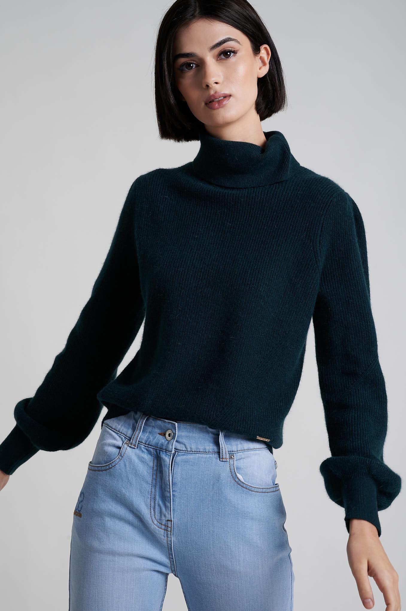 Sweater Dark Green Casual Woman
