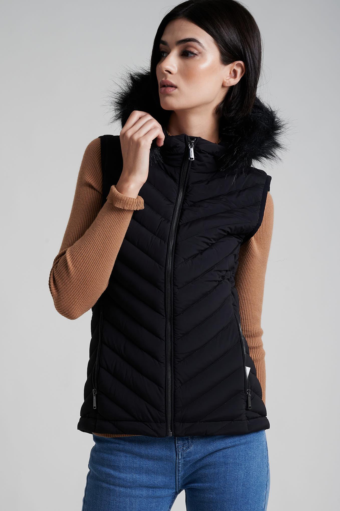 Waist Coat Black Casual Woman