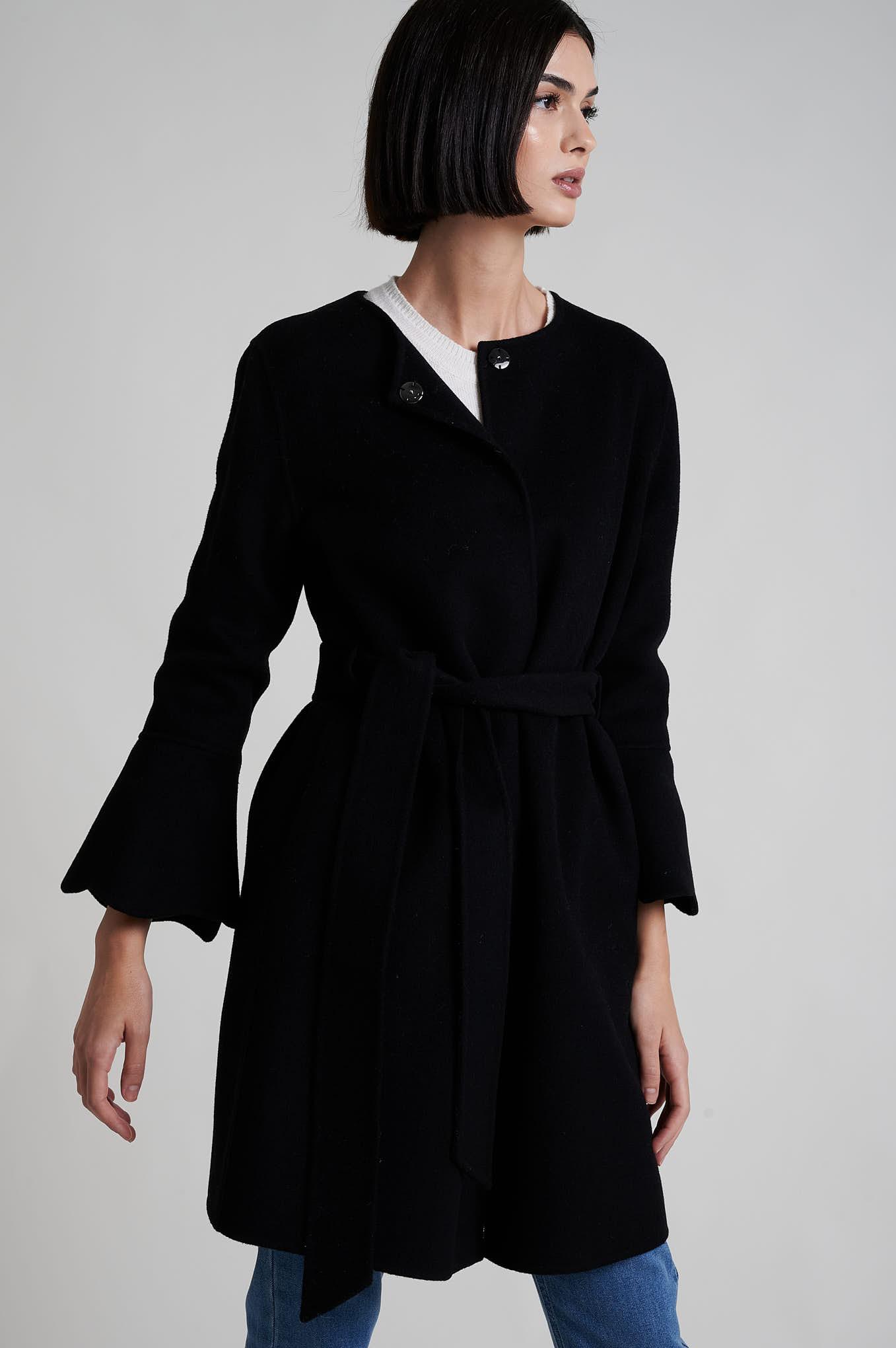 Coat Black Casual Woman