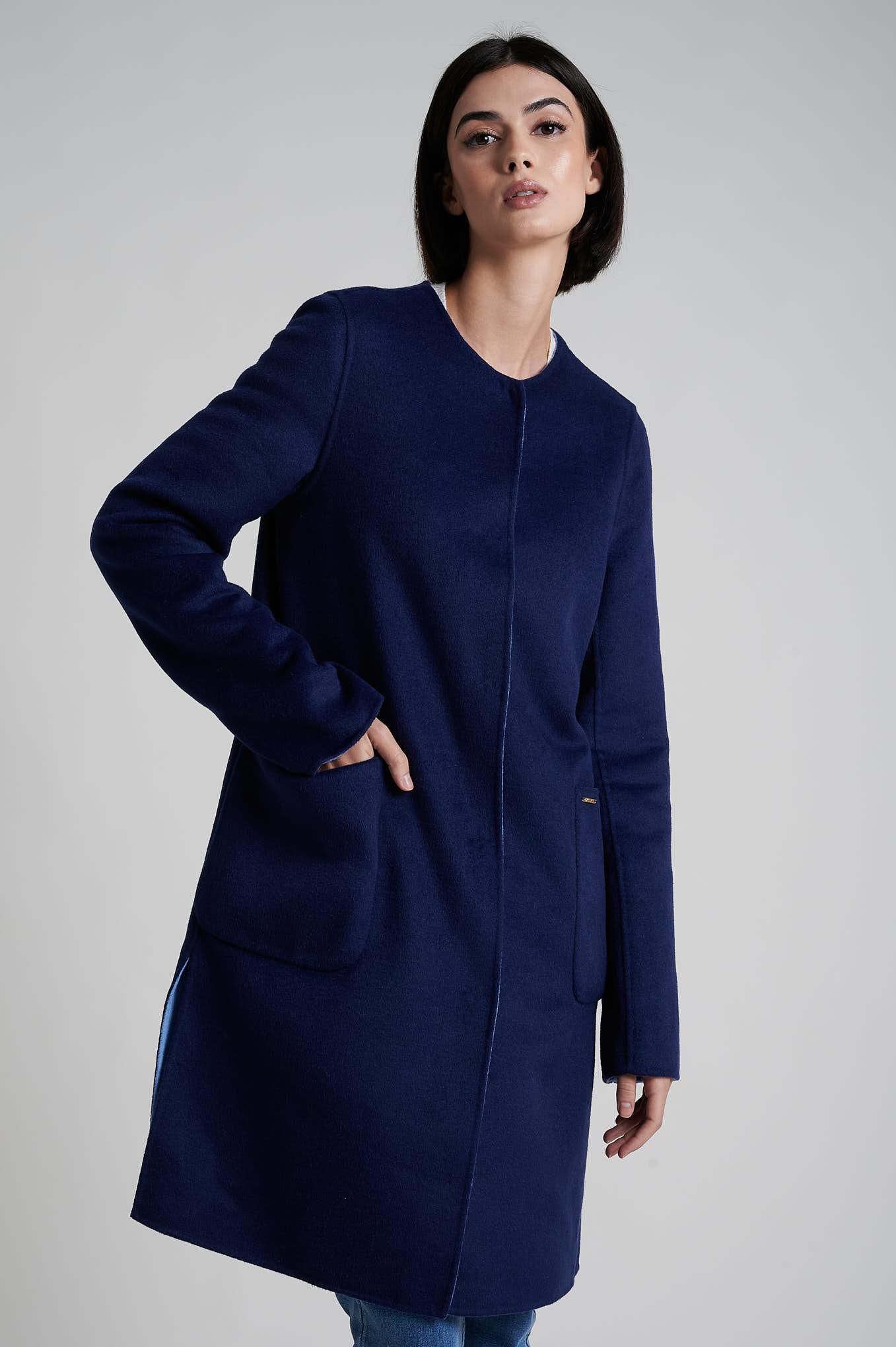 Coat Dark Blue Casual Woman