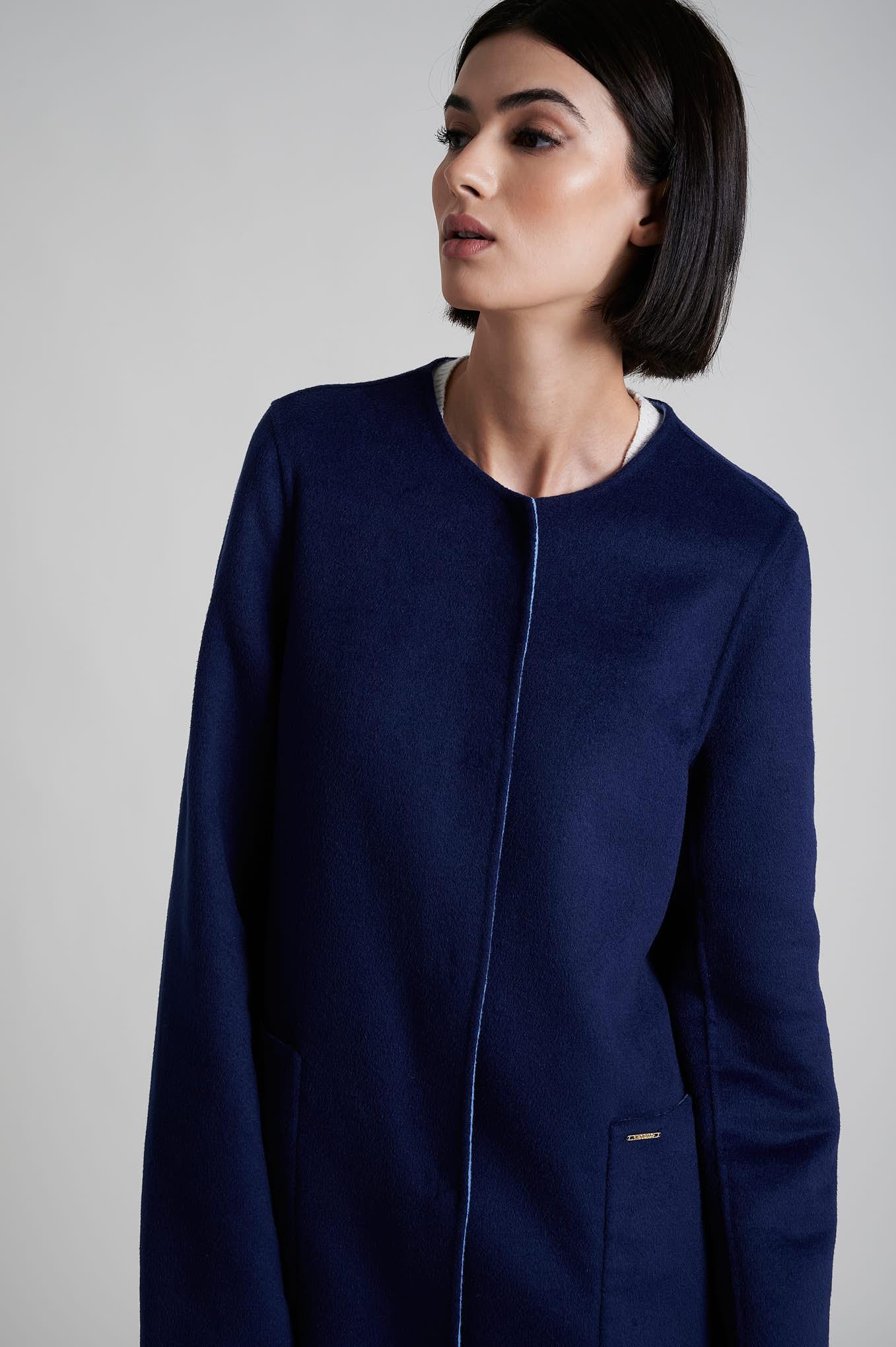 Casaco Azul Escuro Casual Mulher