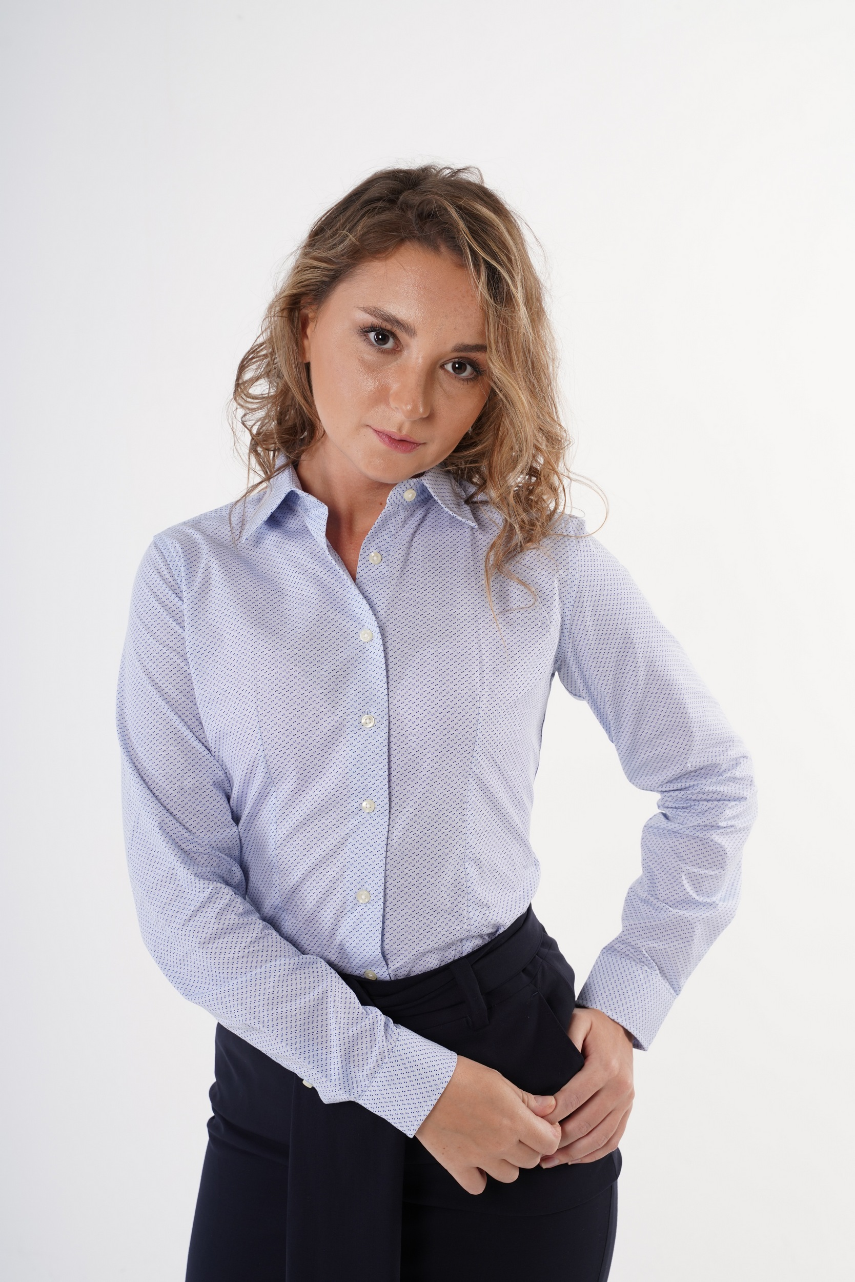 Camisa Azul Claro Formal Mulher