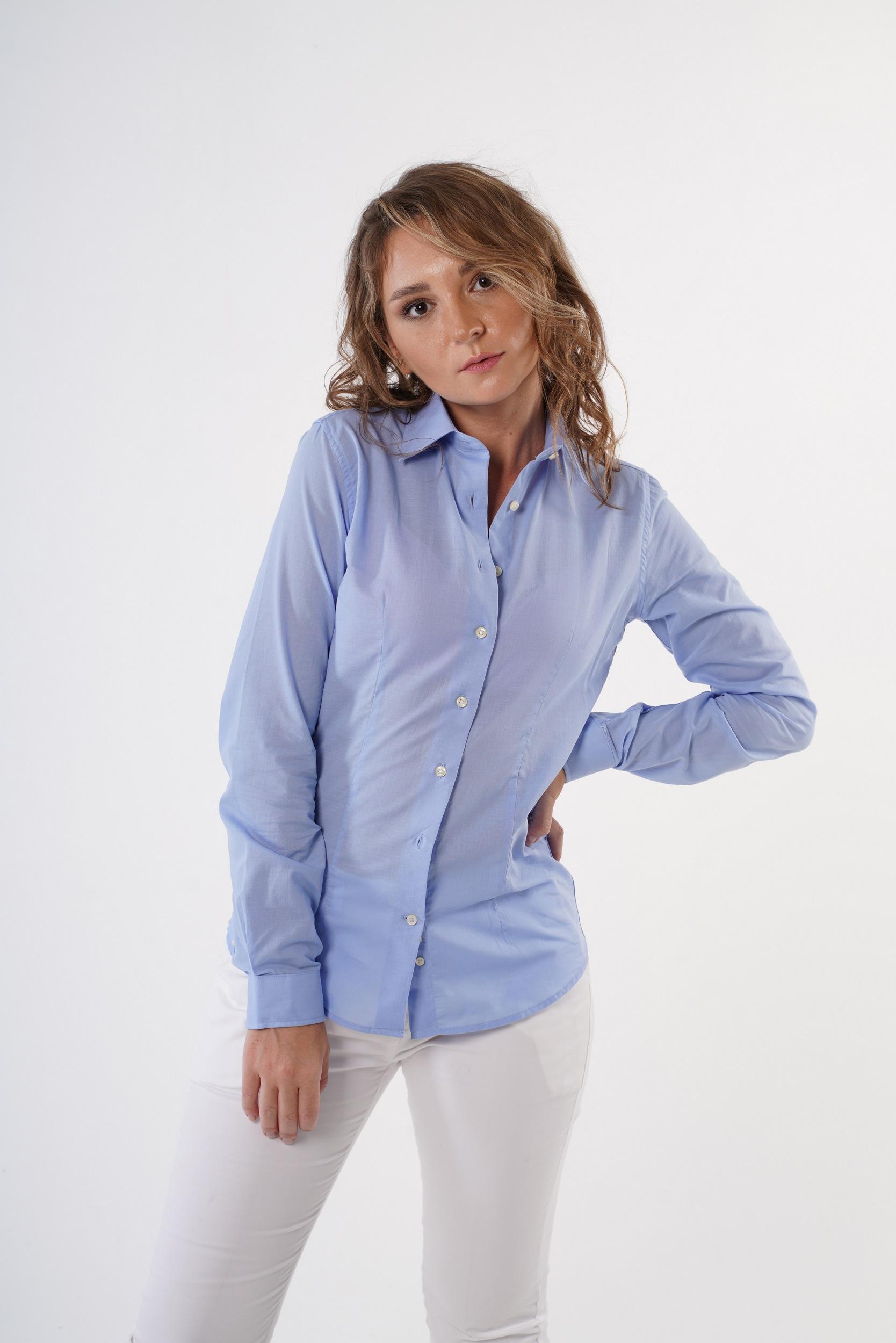 Camisa Azul Formal Mulher