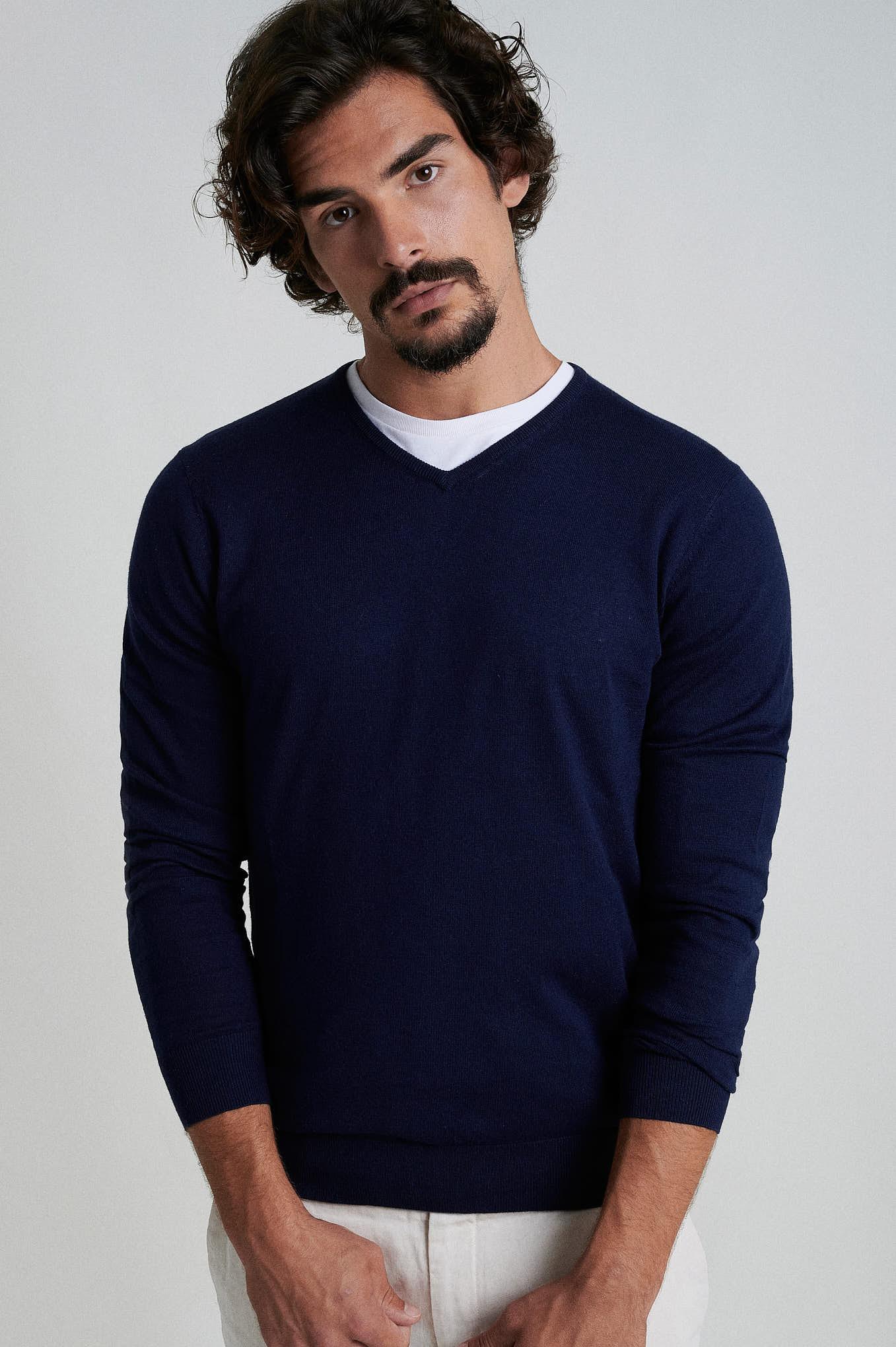 Malha Azul Escuro Casual Homem