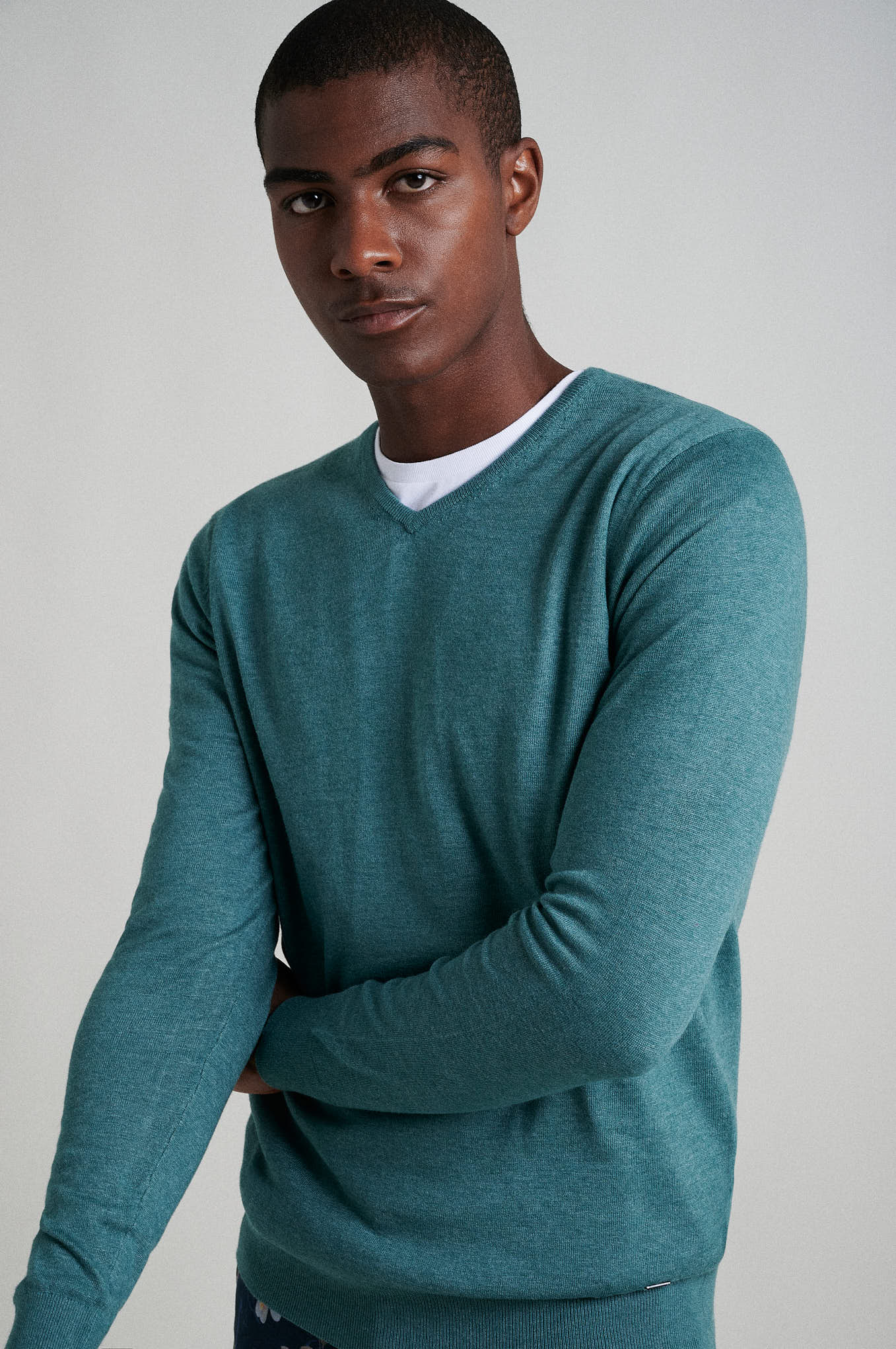 Sweater Teal Casual Man