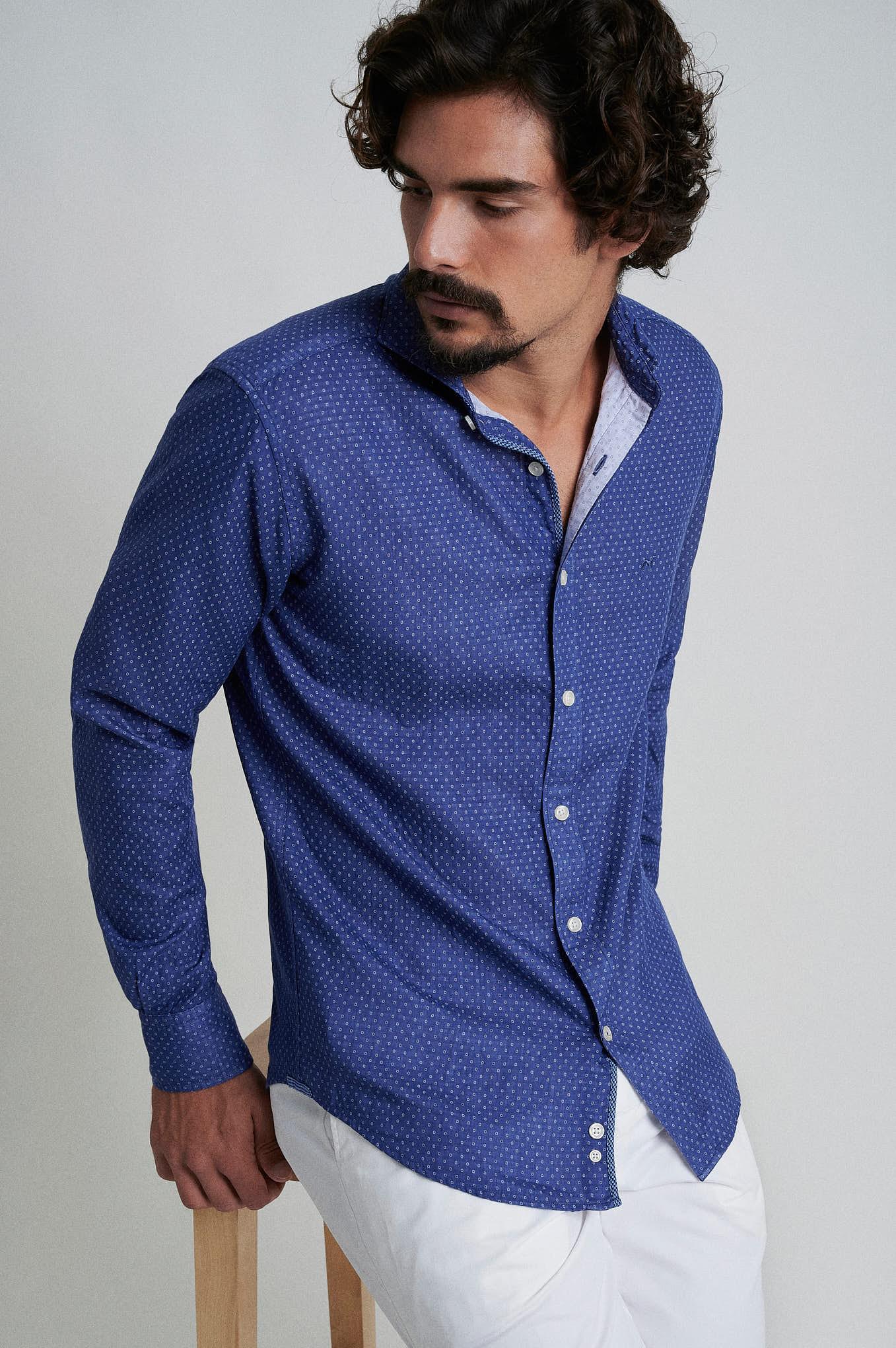 Shirt Blue Casual Man