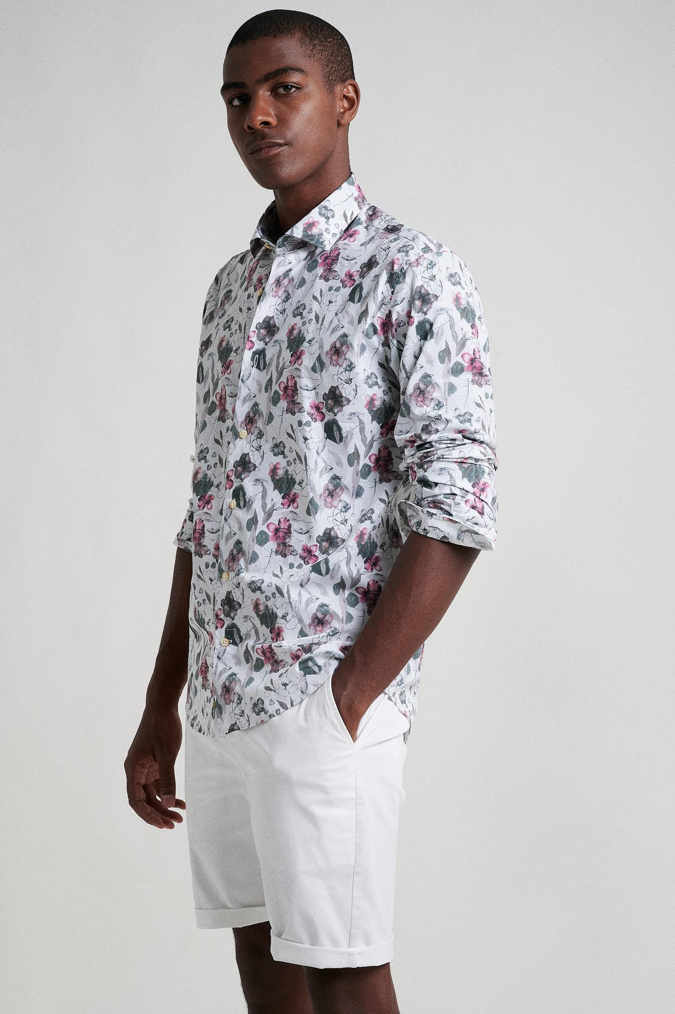 Shirt Ecru Casual Man