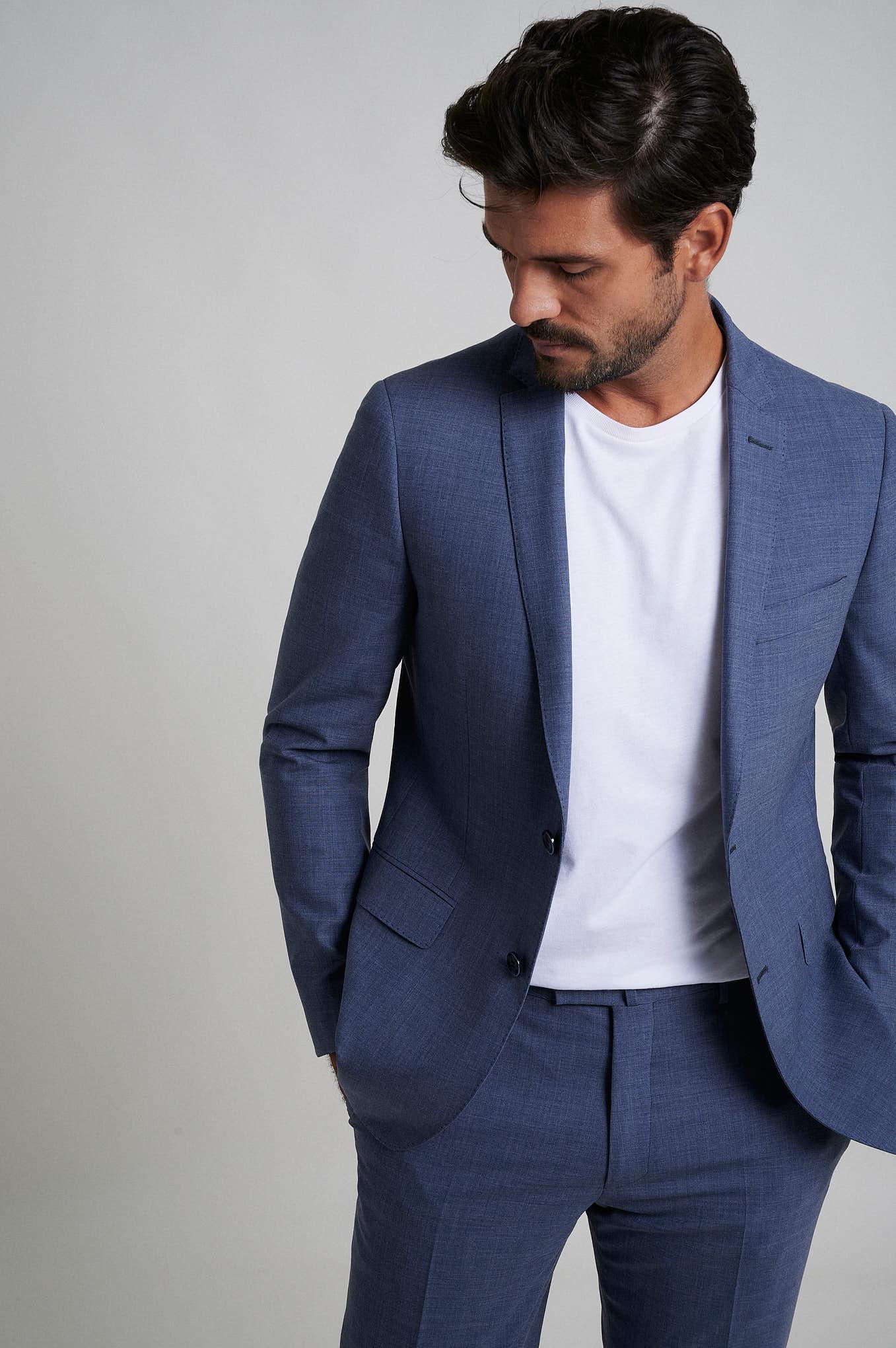 Suit Medium Blue Formal Man