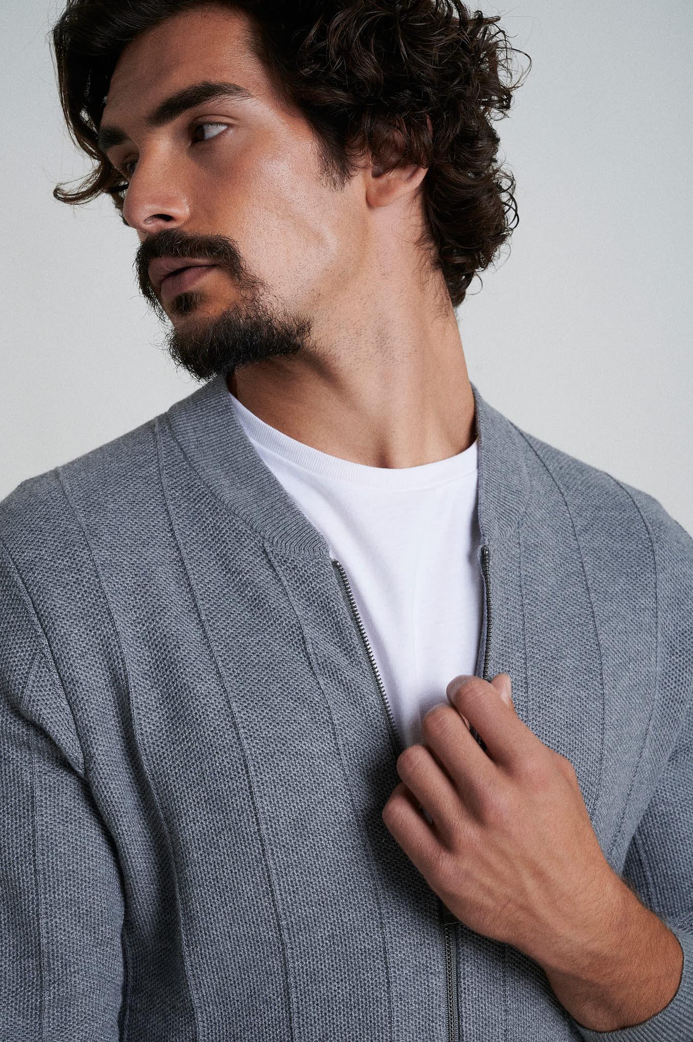 Cardigan Mix Grey Casual Man