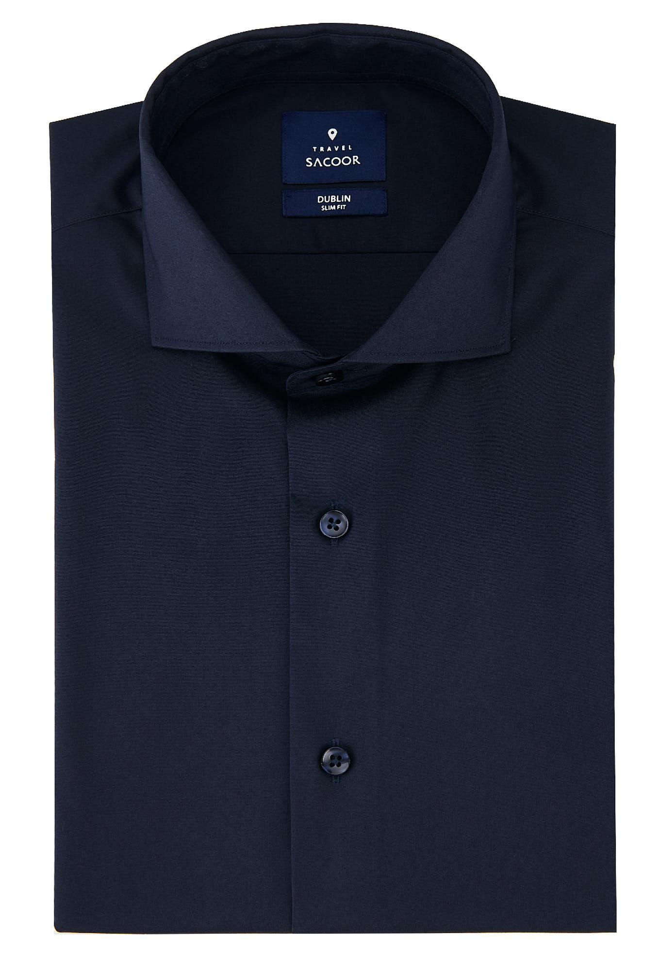 Camisa Azul Escuro Formal Homem