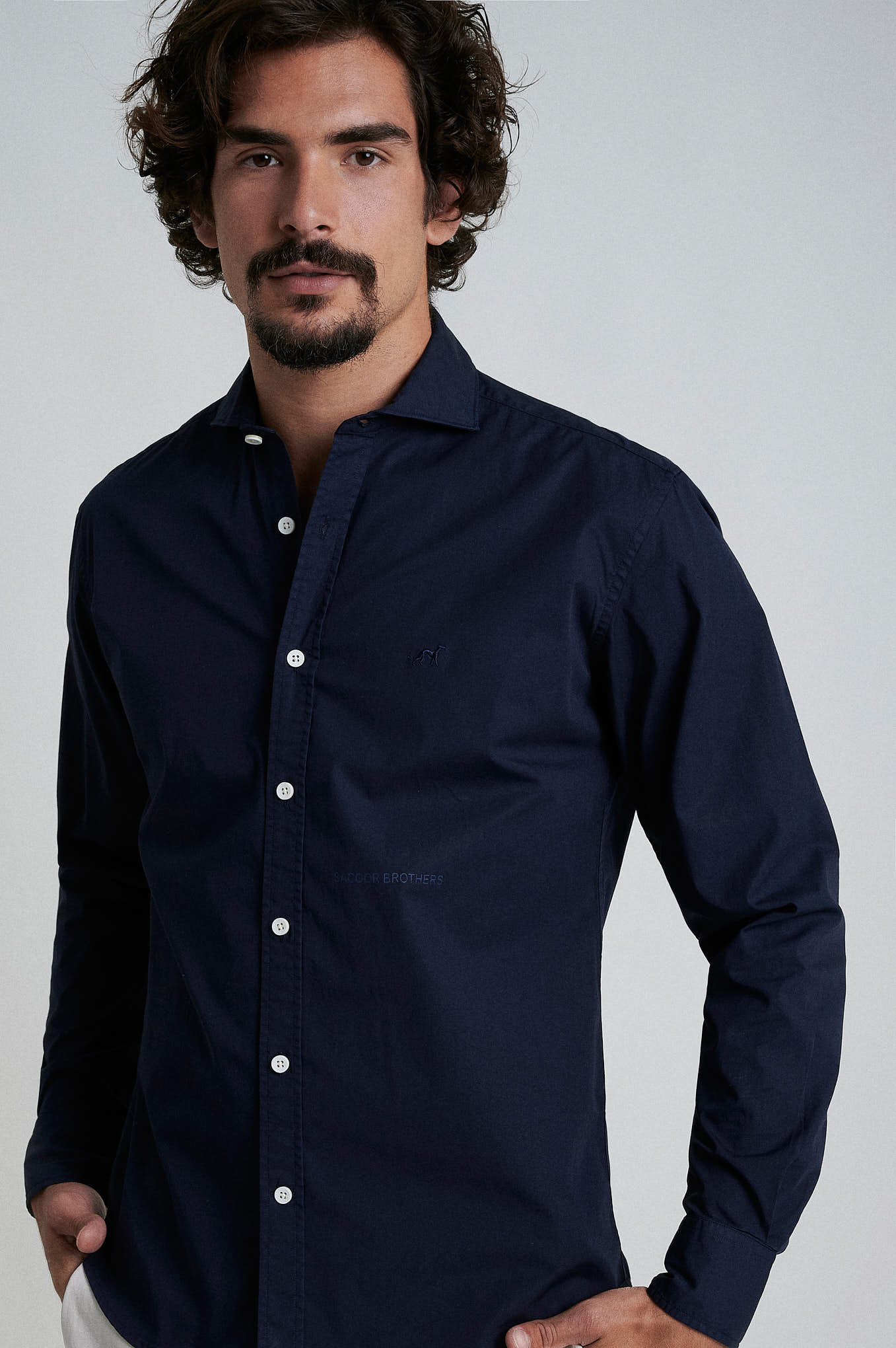 Camisa Azul Escuro Sport Homem