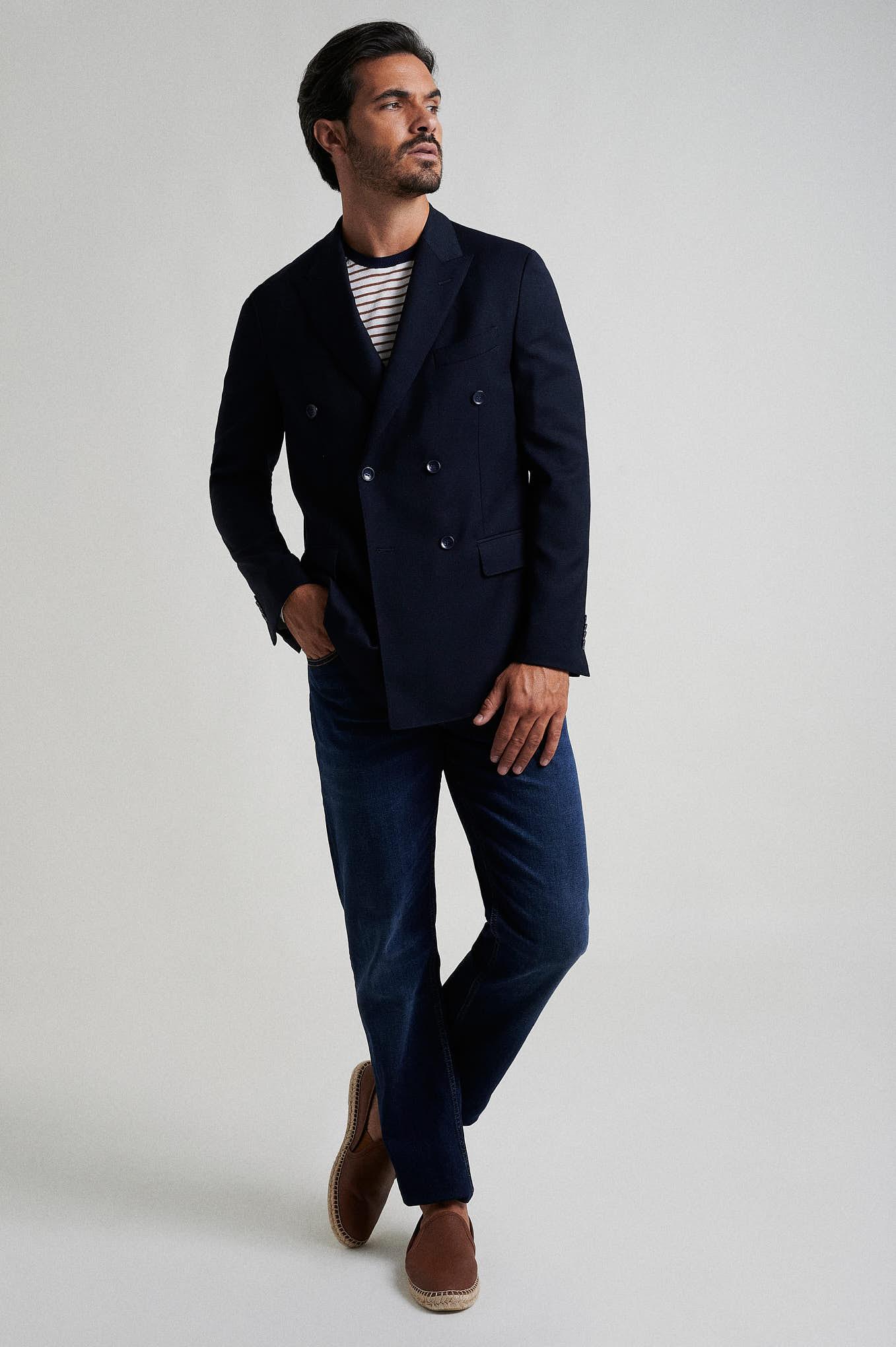 Blazer Azul Escuro Formal Homem