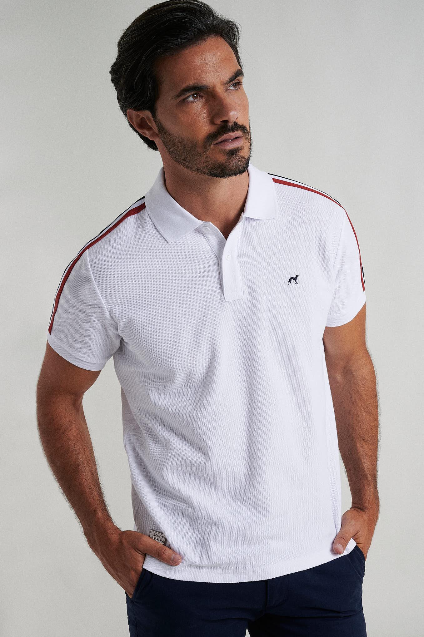 Polo Piquet Branco Sport Homem