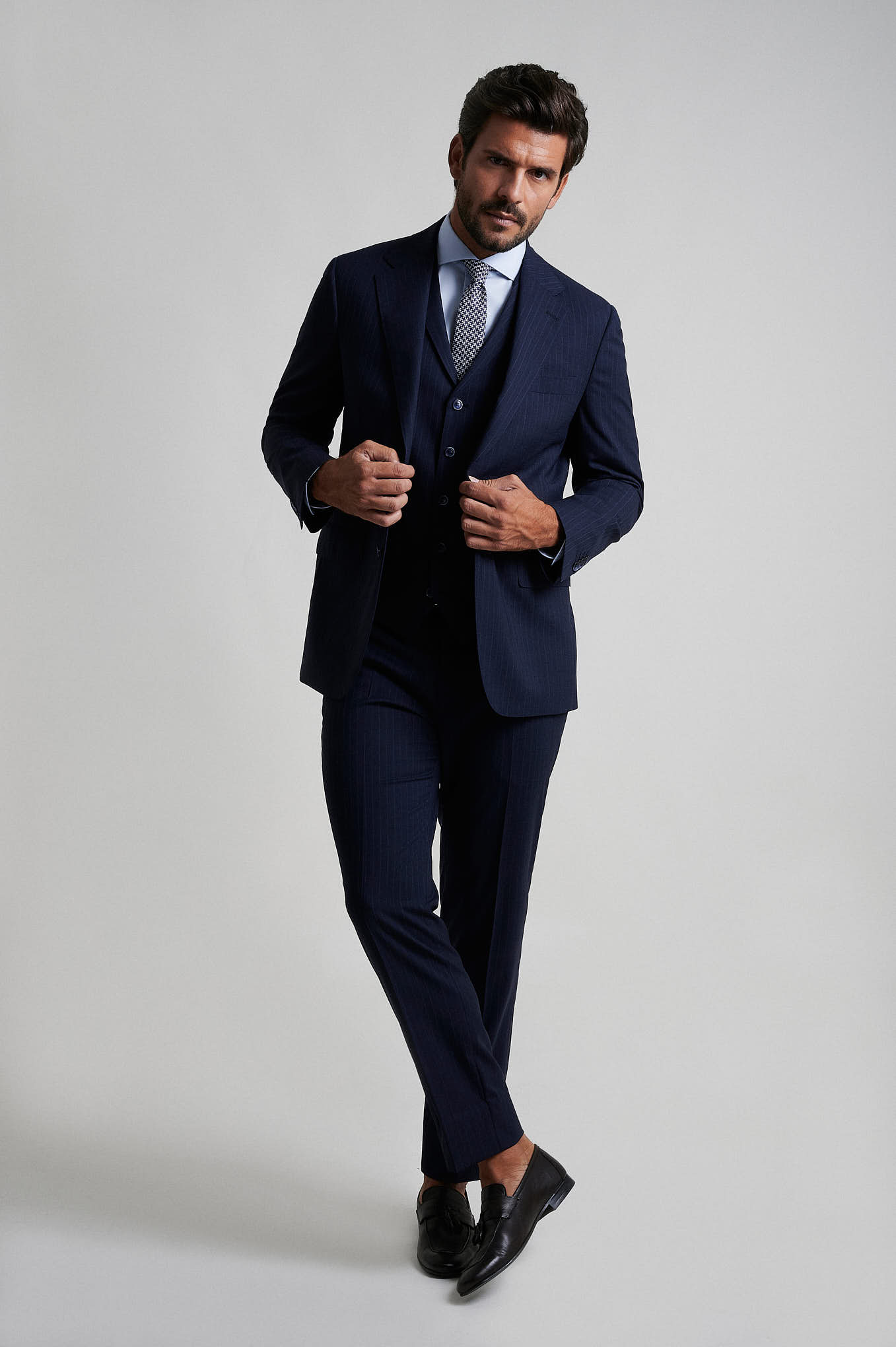 Suit with Vest Dark Blue Formal Man