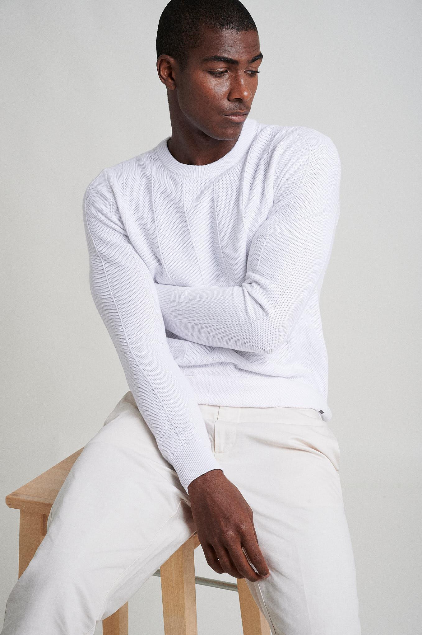 Sweater Ecru Casual Man