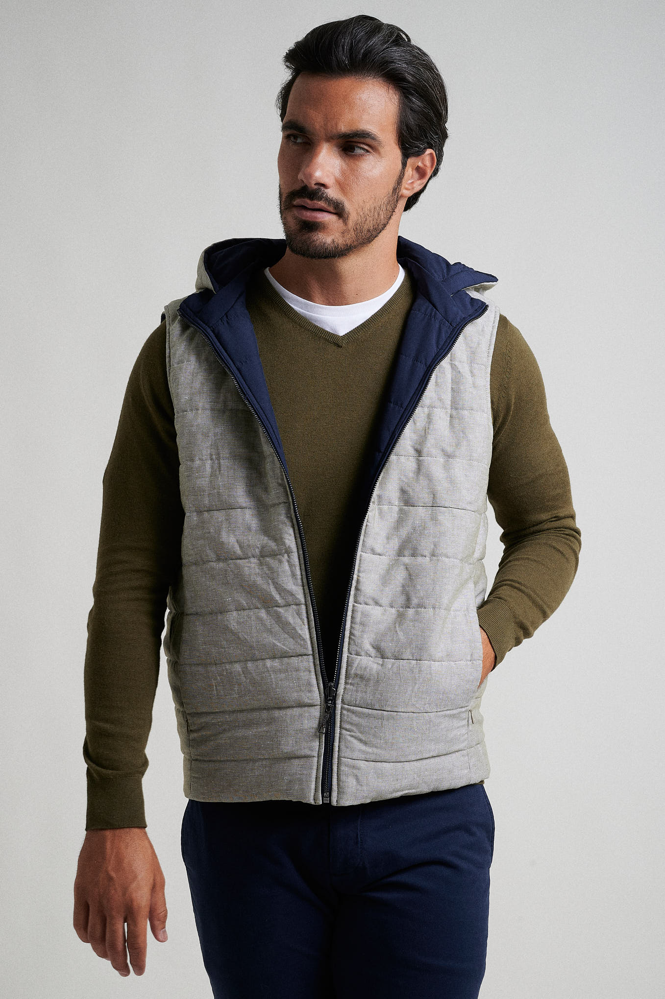 Waist Coat Dark Blue Casual Man