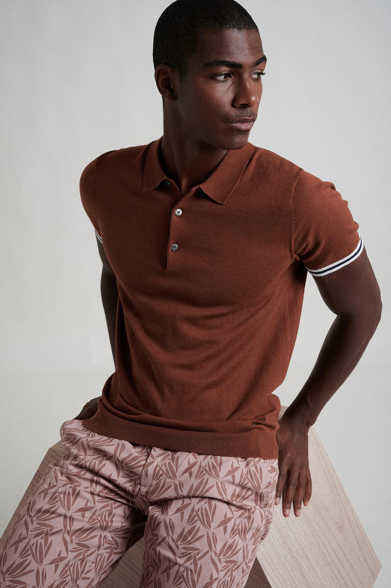 Polo Sweater Caramel Casual Man