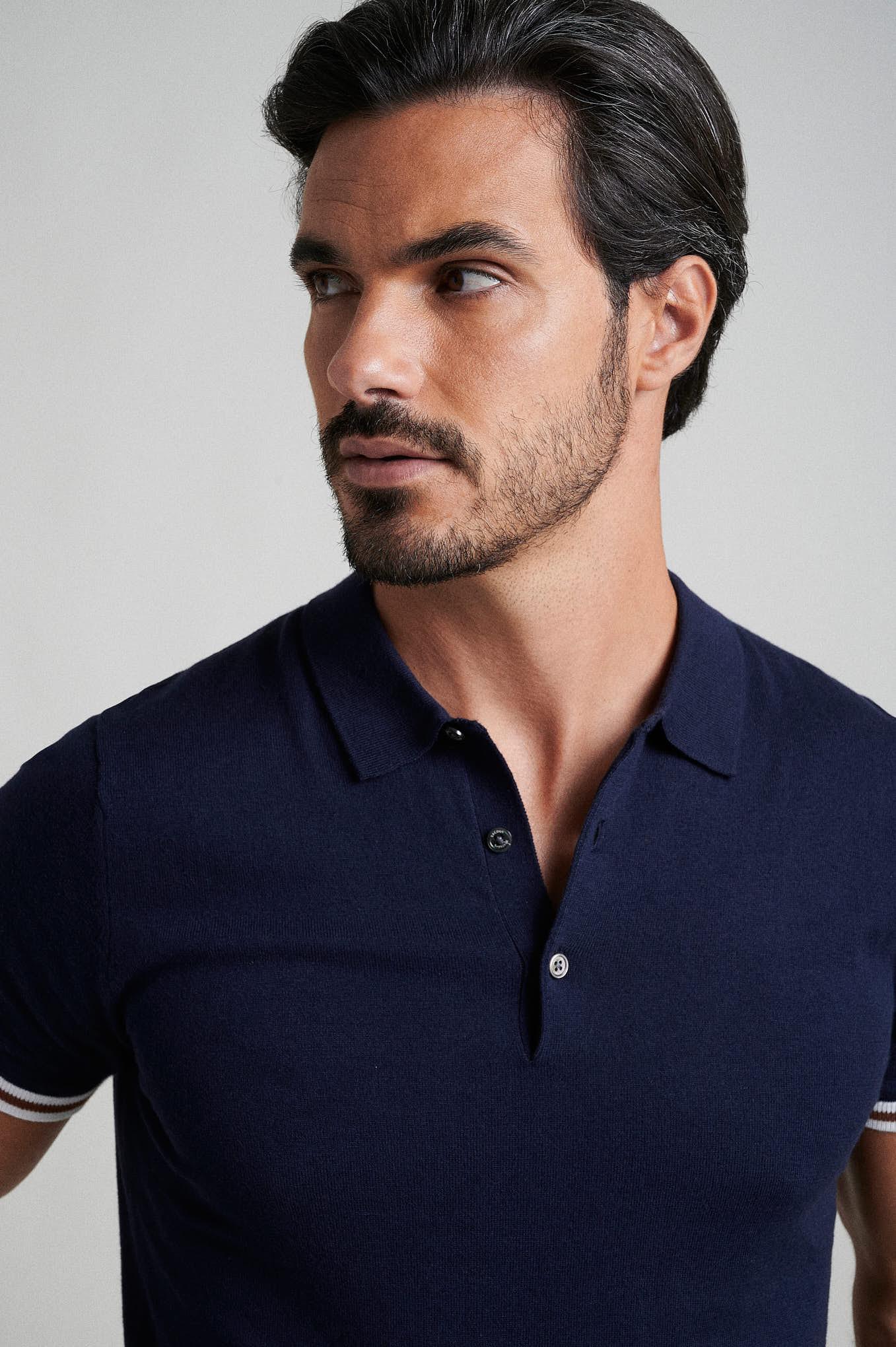 Polo Sweater Dark Blue Casual Man