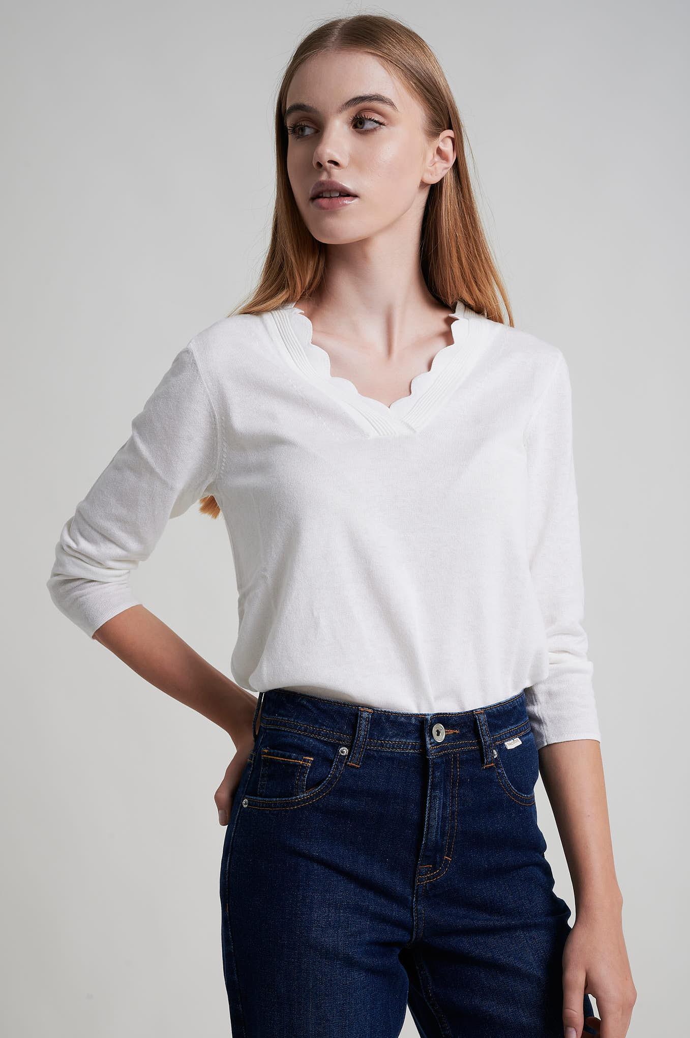 Sweater Ecru Casual Woman