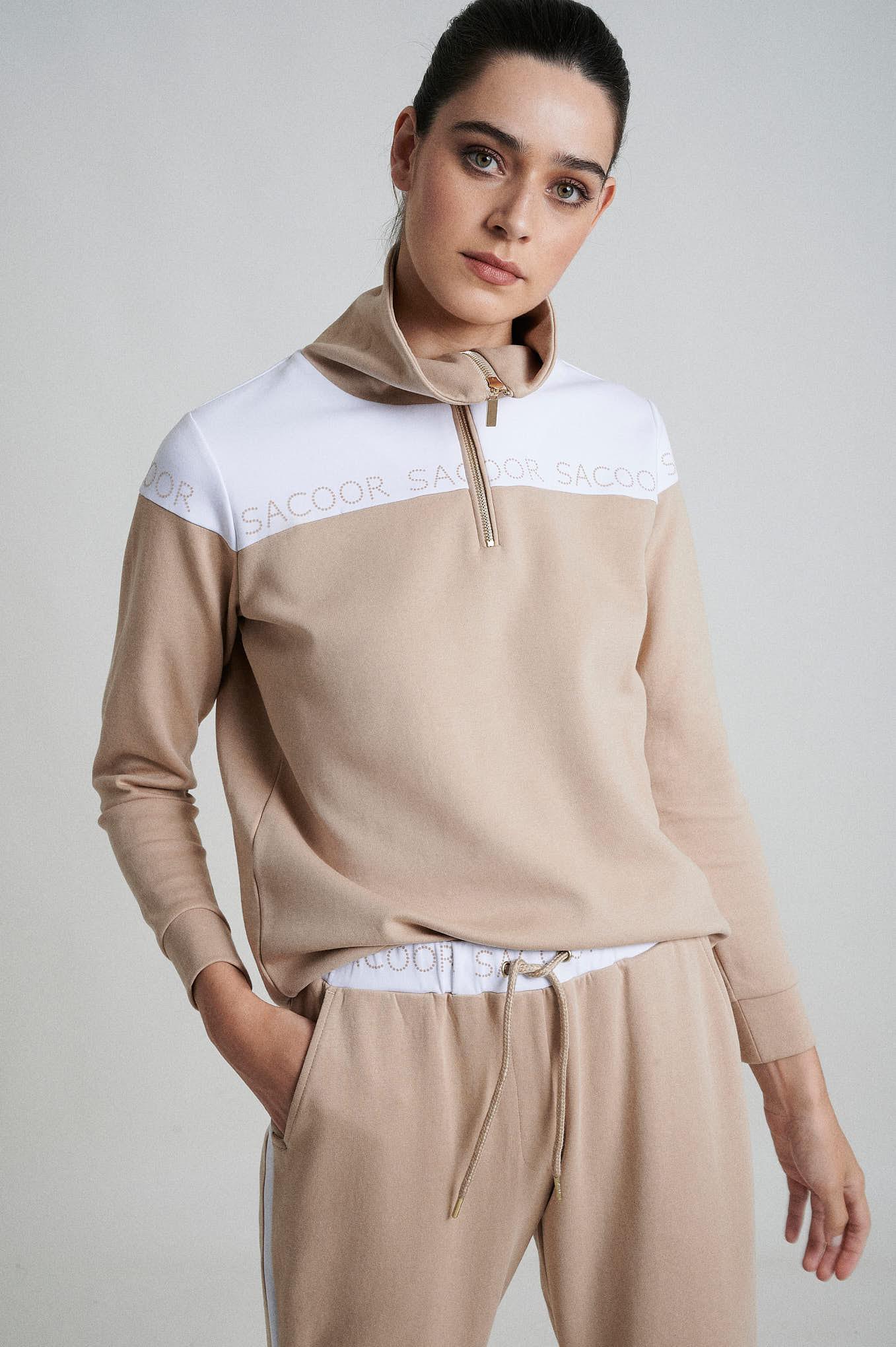 Sweatshirt Beige Sport Woman
