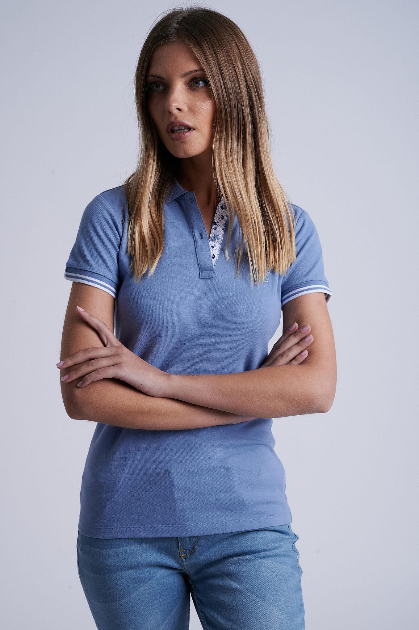 Polo Piquet Blue Sport Woman