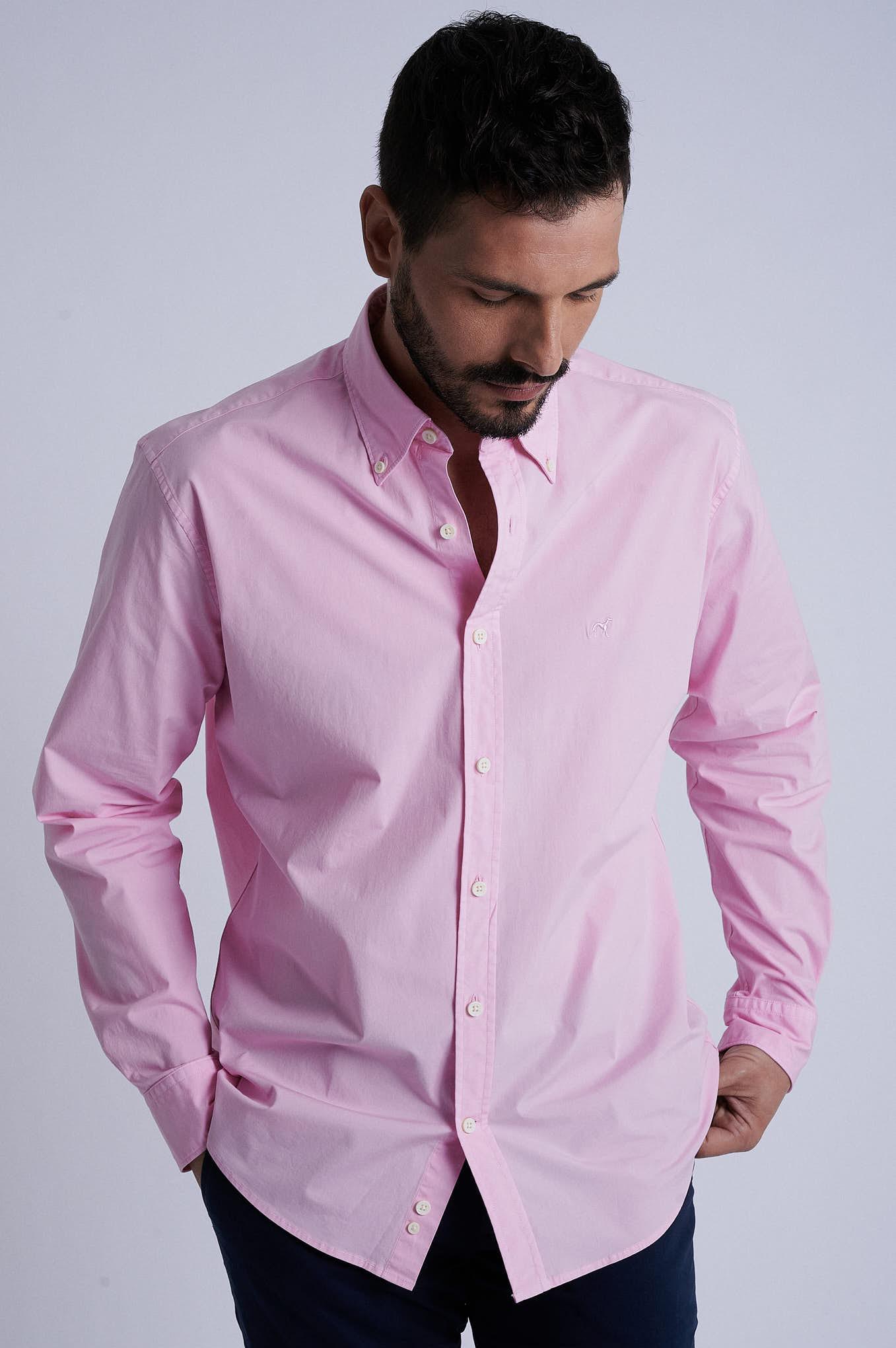 Camisa Rosa Pálido Sport Homem