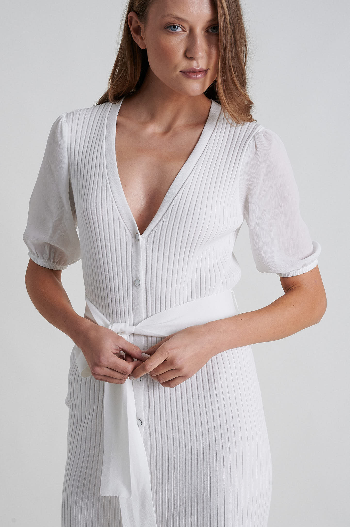 Knitwear Dress Ecru Casual Woman