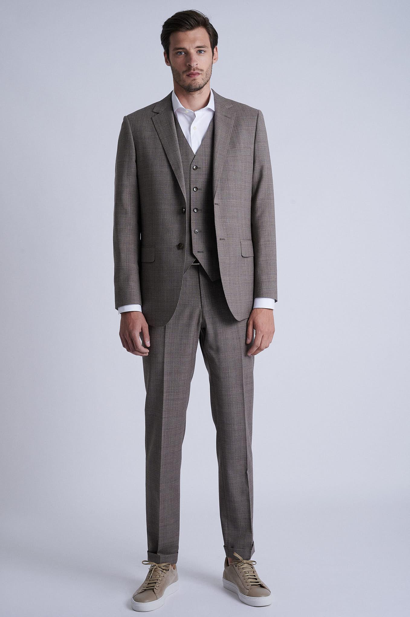Suit with Vest Beige Formal Man